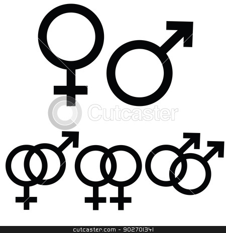 Male and female signs stock vector clipart, Male and female icon signs presented separately, as well as together to symbolize  different types of relationship by Bruno Marsiaj