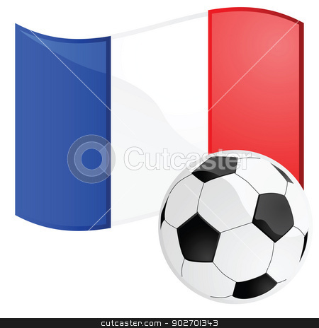 France soccer stock vector clipart, Illustration of a soccer ball in front of the French flag by Bruno Marsiaj