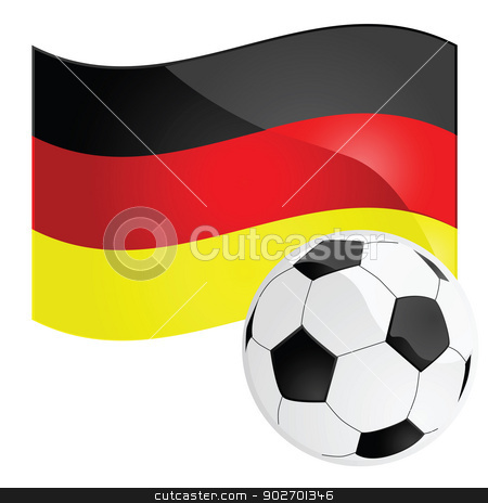 Germany soccer stock vector clipart, Illustration of a soccer ball in front of the German flag by Bruno Marsiaj