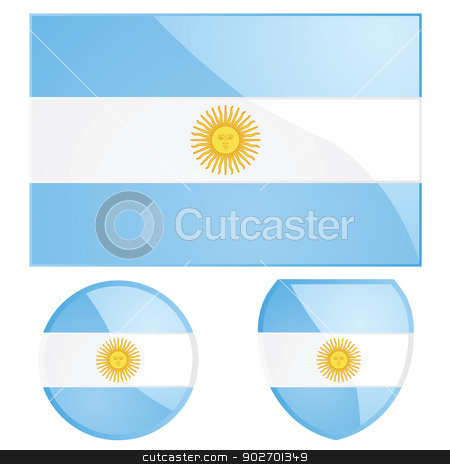 Argentina flag and emblem stock vector clipart, Illustration of the Argentine flag, alongside a round and shield emblems by Bruno Marsiaj
