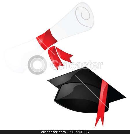 Graduation stock vector clipart, Glossy illustration of a diploma and a graduation hat by Bruno Marsiaj