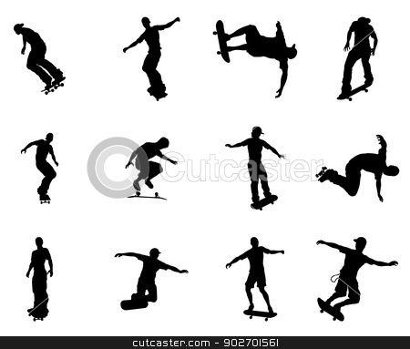 Silhouette outlines of skating skateboarders stock vector clipart, Very high quality and highly detailed skating skateboarder silhouette outlines.  by Christos Georghiou