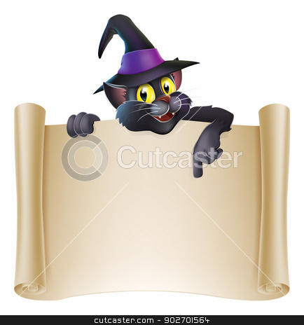 Halloween cat scroll sign stock vector clipart, Drawing of Halloween black cat in witch hat above a scroll sign pointing down by Christos Georghiou