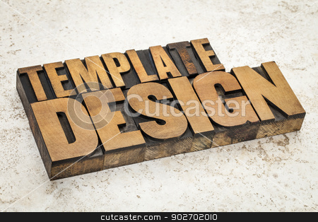 template design in wood type stock photo, template  product design  text in vintage letterpress wood type on a ceramic tile background by Marek Uliasz