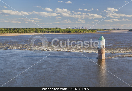 Mississippi River above St Louis stock photo, Mississippi RIver at Chain of Rocks with historical water intake tower and distant cityscape of St Louis by Marek Uliasz