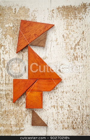 tangram fat man stock photo, obesity concept - abstract figure of a fat man built from seven tangram wooden pieces, a traditional Chinese puzzle game,, rough white painted barn wood background by Marek Uliasz