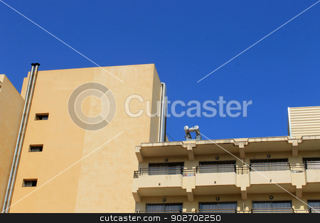 Abstract modern hotel building stock photo, Low angle abstract view of modern hotel building, Majorca, Spain. by Martin Crowdy