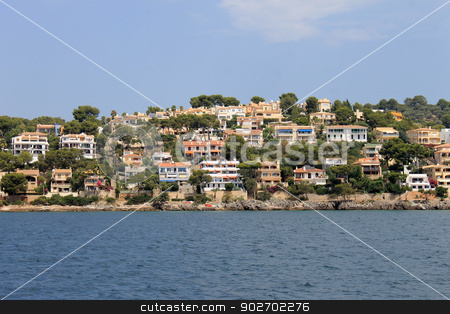 Alcudia in Spain stock photo, Scenic view of Alcudia town waterfront, Majorca, Spain. by Martin Crowdy