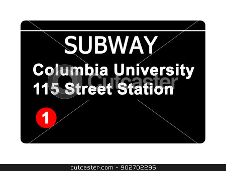 Columbia University 115 Street Station subway sign stock photo, Columbia University 115 Street Station subway sign isolated on white, New York city, U.S.A. by Martin Crowdy