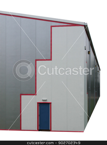 Isolated modern industrial building stock photo, Exterior of modern industrial building isolated on white background. by Martin Crowdy