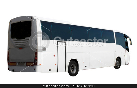 Isolated tourist coach stock photo, Tourist bus or coach isolated on a white background. by Martin Crowdy