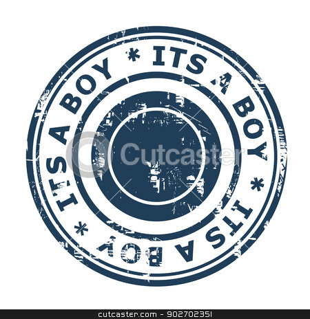 Its a boy stamp stock photo, Its a boy stamp isolated on a white background. by Martin Crowdy