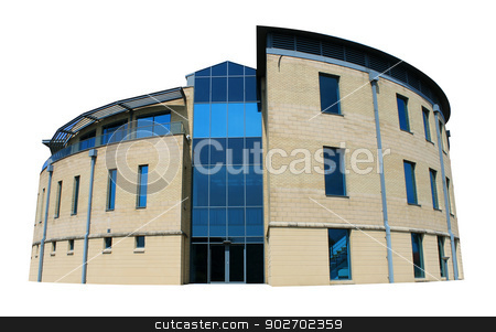 Modern office building stock photo, Exterior of empty modern office building with blue windows, white background. by Martin Crowdy