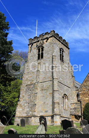 Old church clock tower stock photo, Old church clock tower and cemetery, Scarborough, England. by Martin Crowdy