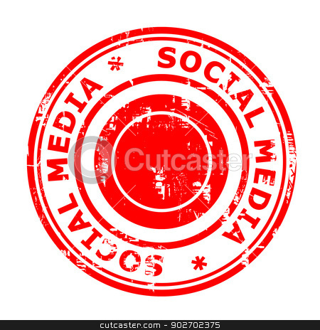 Social media concept stamp stock photo, Social media concept stamp isolated on a white background. by Martin Crowdy
