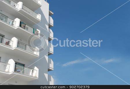 Spanish tourist hotel 2 stock photo, White Spanish tourist hotel, Majorca, Spain. by Martin Crowdy