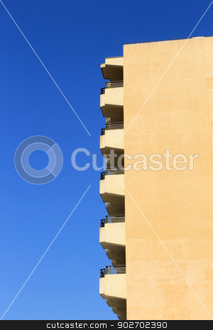 Tourist hotel building stock photo, Side view of tourist hotel building with copy space, Majorca, Spain. by Martin Crowdy