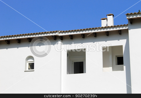 White Spanish house stock photo, Exterior of traditional white Spanish house, Majorca, Spain. by Martin Crowdy