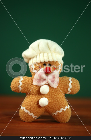 Stuffed Homemade Gingerbread Christmas Man stock photo, Happy Stuffed Homemade Gingerbread Christmas Man by Katrina Brown