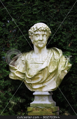 Marble bust  stock photo, The  Ancient Marble bust of Roman imeratora  by mrivserg