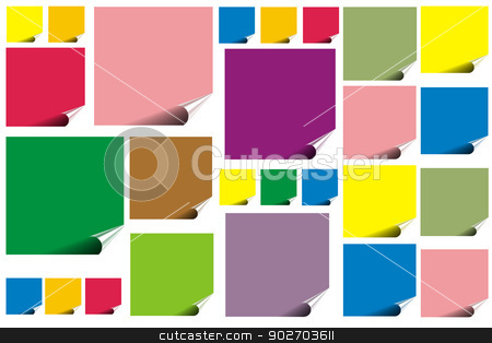 Empty reminders stock photo, Different colors blank note with wrinkle on white board by ManuelS