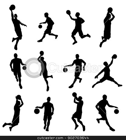 American basketball stock vector clipart, Illustration of American basketball players in silhouette. Highly detailed and high quality by Christos Georghiou