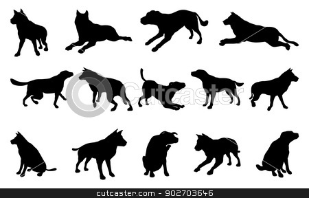Dog Silhouettes stock vector clipart, A set of pet dog silhouettes including the dog playing, jumping and walking by Christos Georghiou