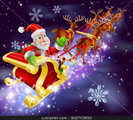 Christmas Santa Claus flying sleigh with gifts stock vector clipart, Christmas illustration of Santa Claus flying in his sled or sleigh with night background by Christos Georghiou