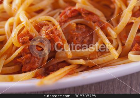 Pasta stock photo, A white plate of pasta with tuna by Fabio Alcini