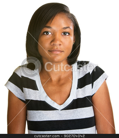 Relaxed Teenage Female stock photo, Relaxed grinning Hispanic teenager on isolated background by Scott Griessel