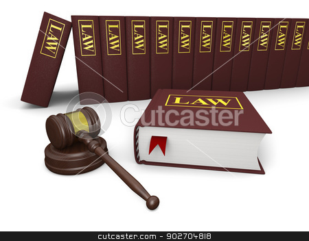 Legal literature stock photo, Gavel and law books on white background, symbols of law and justice by Harvepino
