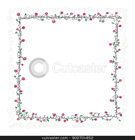 Floral Frame stock vector clipart, Vector illustration. Square background with floral frame - hand drawing by Tiramisu Studio