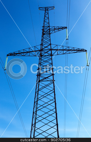 High-voltage line on blue sky background stock photo, Support of a line of high-voltage electricity transmissions on a background of the blue sky by Ruslan Kudrin