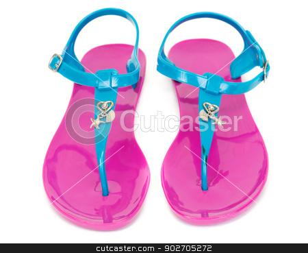 pair of beach slippers purple stock photo, pair of beach slippers purple, isolate on white by Ruslan Kudrin