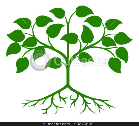 Stylised tree icon stock vector clipart, An illustration of an abstract green stylised tree by Christos Georghiou