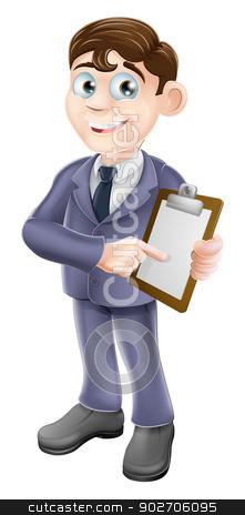 Businessman holding survey or clipboard stock vector clipart, A cartoon illustration of a businessman holding survey or clipboard by Christos Georghiou