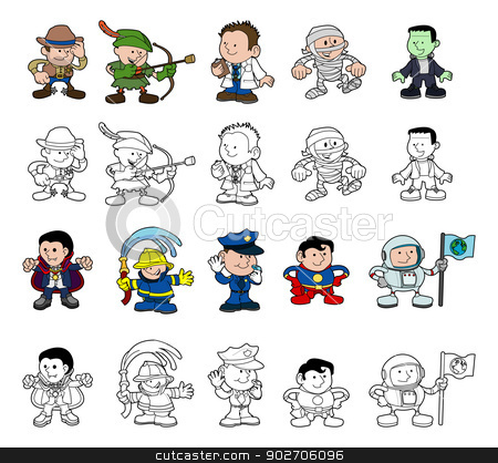 Cartoon characters set stock vector clipart, A set of cartoon people or children playing dress up. Color and black and white outline versions. by Christos Georghiou