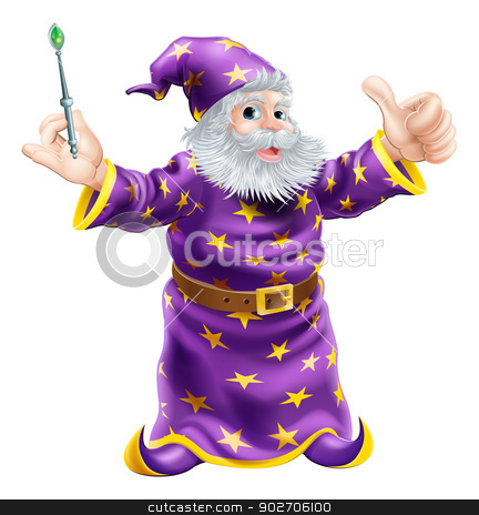 Cartoon Wizard with Wand stock vector clipart, A cartoon wizard or sorcerer holding a wand and giving a happy thumbs up by Christos Georghiou