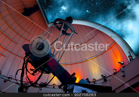 Telescope stock photo, Research telescope pointing at the sky ready for observations by Vlad Podkhlebnik