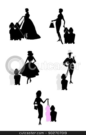 ladies with their poodles stock vector clipart, silhouette of ladies with their dogs  by Gary Nicolson