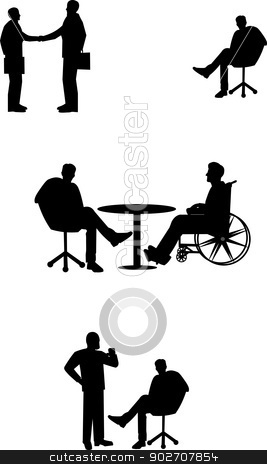 business people  stock vector clipart, silhouettes of business people  by Gary Nicolson
