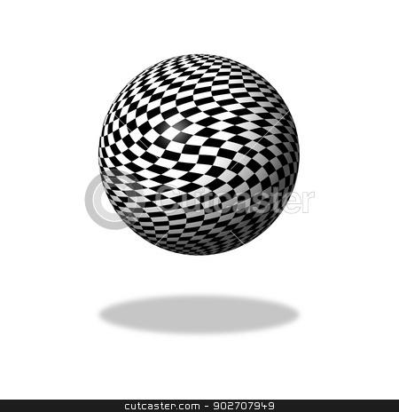 Chessboard Globe stock photo, Abstract black and white chessboard globe on white background with shadow. by Henrik Lehnerer