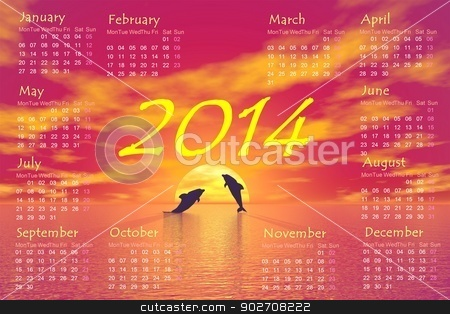Dolphins 2014 calendar - 3D render stock photo, 2'14 monthly calendar and shadow of two small dolphins jumping upon ocean toward the sun by red sunset in background by Elenarts