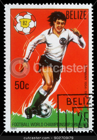 Stamp printed by Belize, shows World Football Championship, Spain stock photo, BELIZE - CIRCA 1982: 1982 stamp printed by Belize, shows World Football Championship, Spain, circa 1982. by Zvonimir Atletic