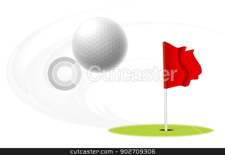 Golf ball stock photo, Golf ball is flying in the air. Vector illustration by sermax55