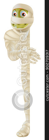 Halloween Mummy stock vector clipart, An illustration of a cartoon Halloween mummy character standing and peeking round a sign by Christos Georghiou