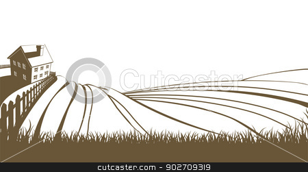 Farm and rolling hills stock vector clipart, An illustration of an idyllic farm landscape with farmhouse and rolling hills by Christos Georghiou