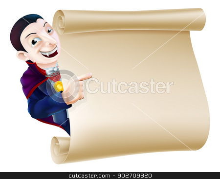 Halloween Vampire Scroll stock vector clipart, An illustration of a Halloween Vampire Dracula character peeping round a scroll sign or banner and pointing at it by Christos Georghiou