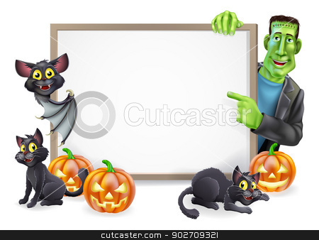 Halloween Sign with Bat and Frankenstein stock vector clipart, Halloween sign or banner with orange Halloween pumpkins and black witch's cats, witch's broom stick and cartoon Frankenstein monster and vampire bat characters  by Christos Georghiou