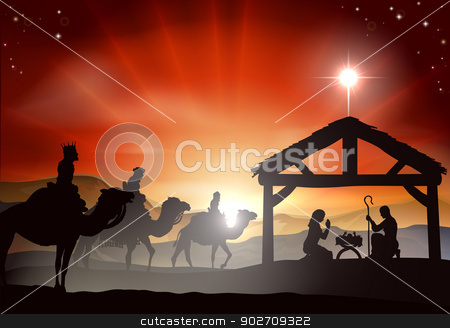 Christmas Nativity Scene stock vector clipart, Christmas nativity scene with baby Jesus in the manger in silhouette, three wise men or kings and star of Bethlehem by Christos Georghiou